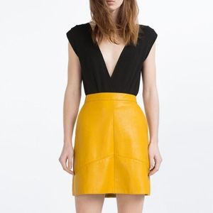 Zara Yellow/Mustard Faux Leather Skirt
